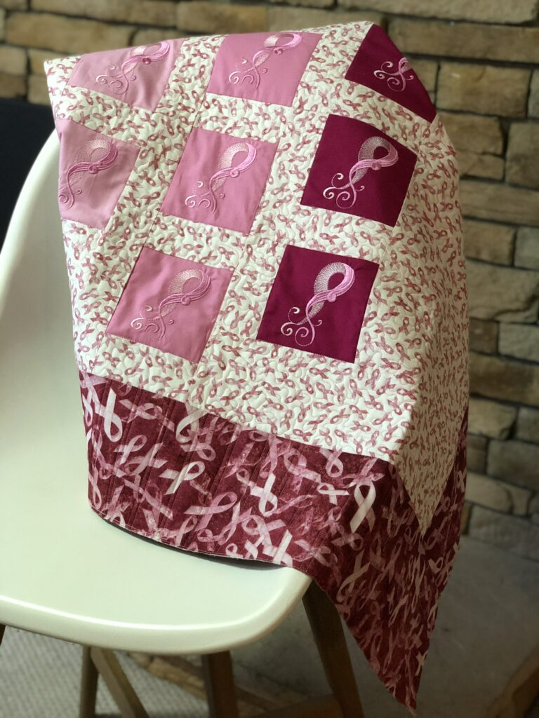 breast cancer quilt on chair