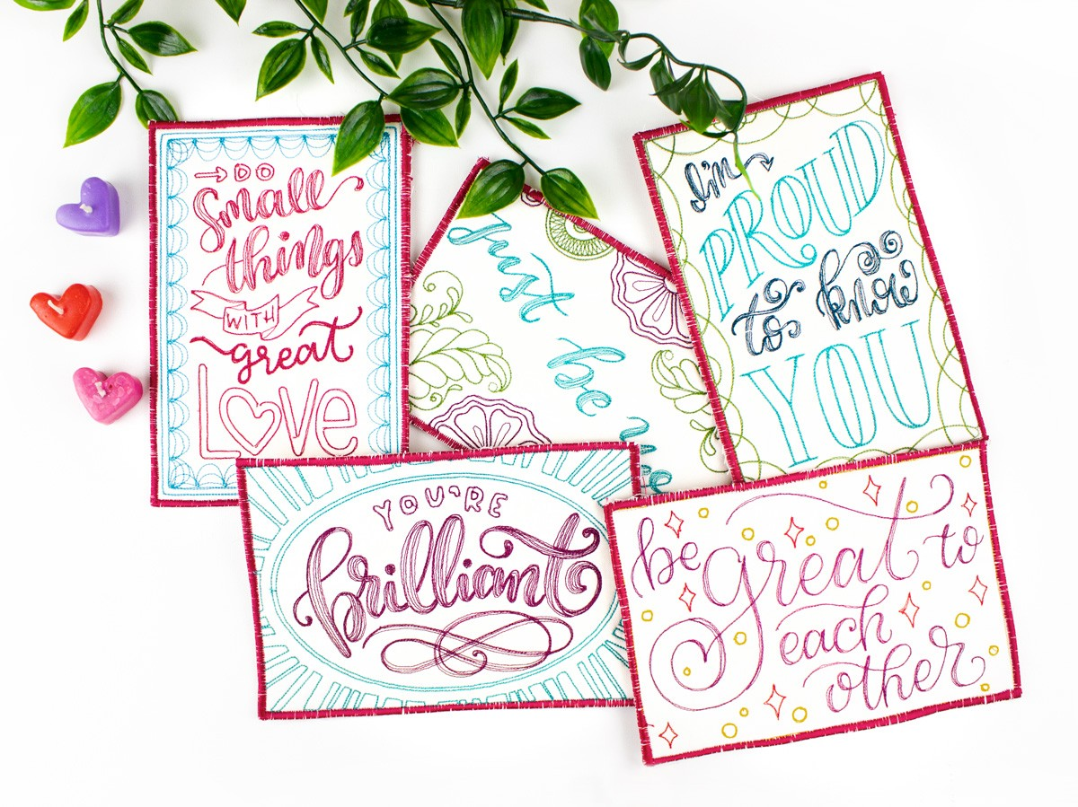 hand lettered quilted postcards