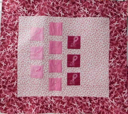 finished breast cancer quilt