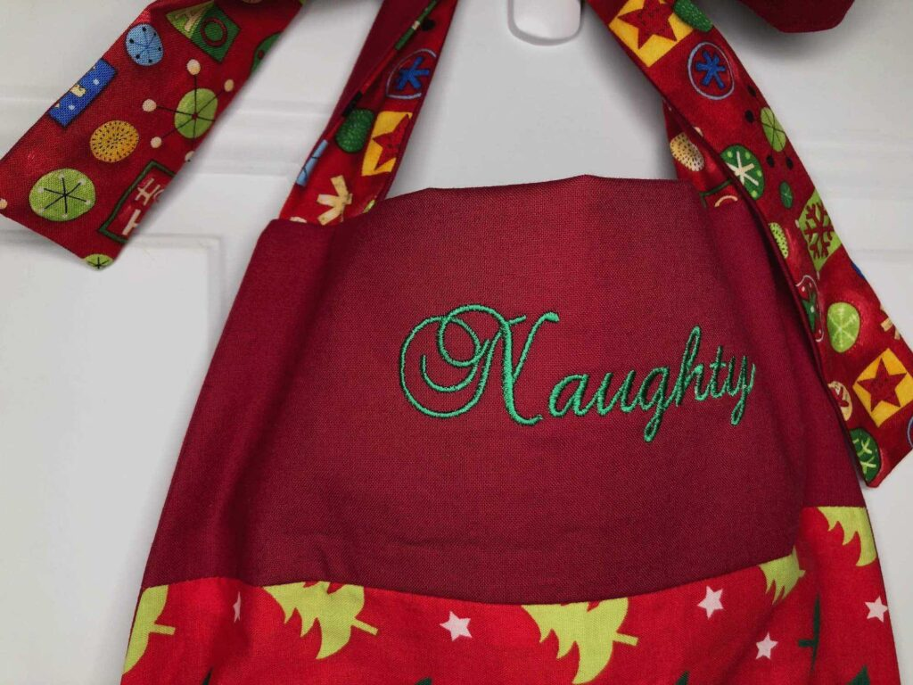 holiday apron embroidery detail