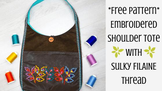 embroidered shoulder tote