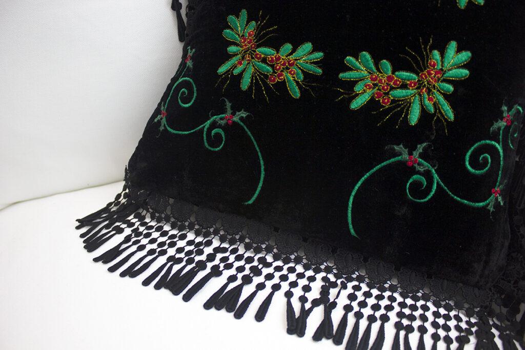 embroidered velvet fringe detail