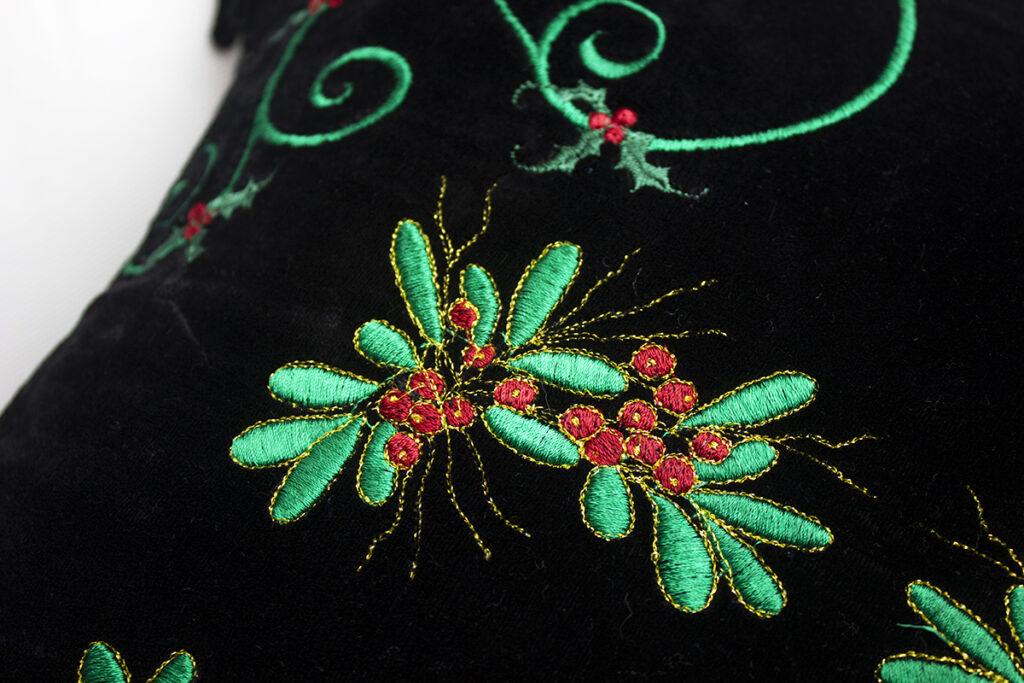 velvet pillow embroidery detail
