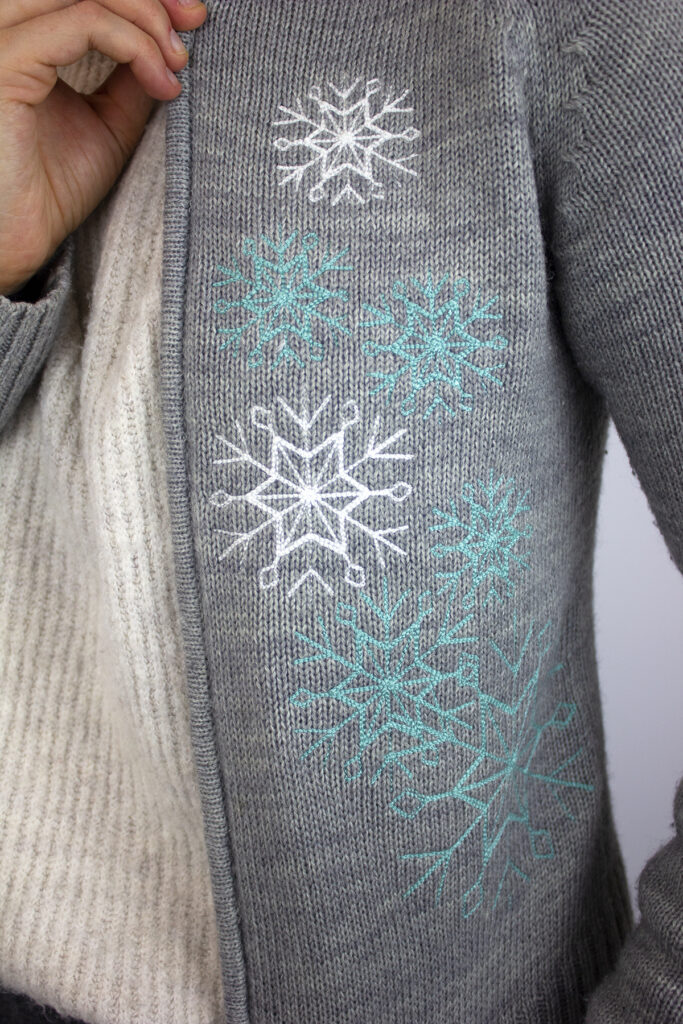 sweater embroidery on caridigan