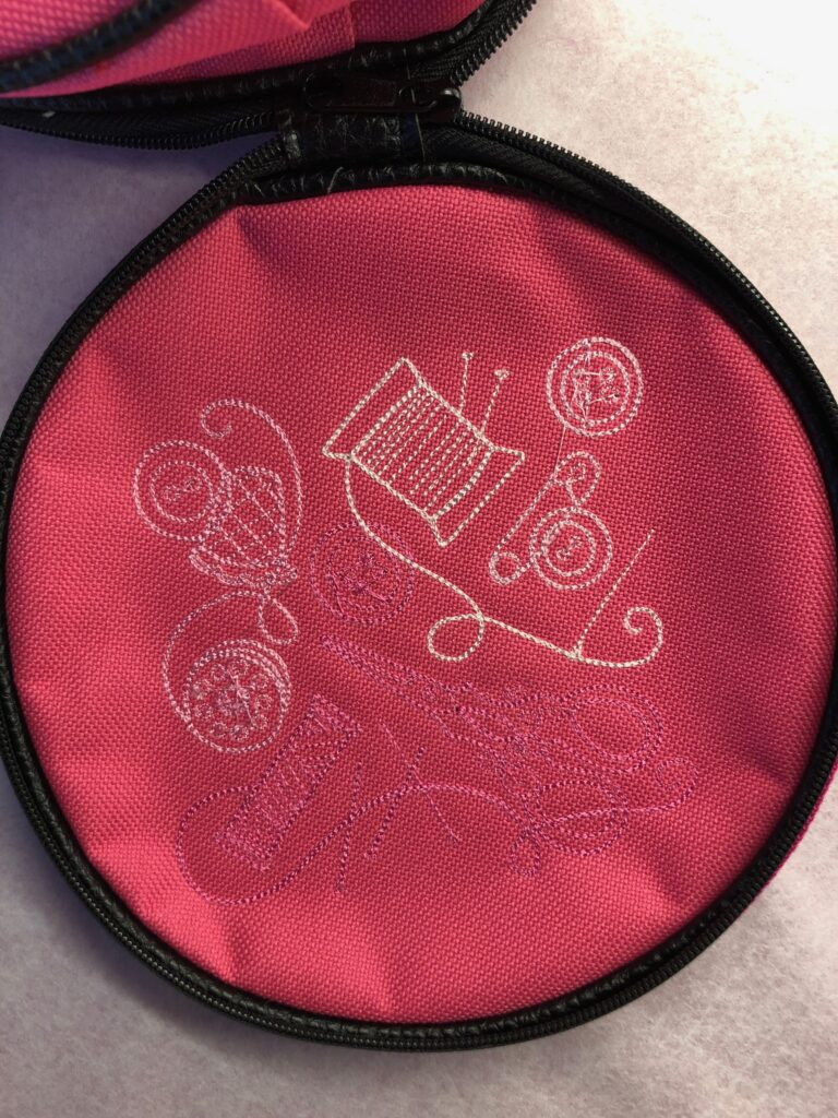 embroidery detail on jewelry case