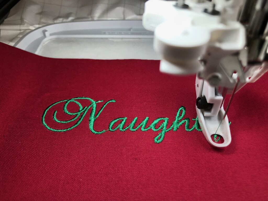 Embroidery in progress for apron
