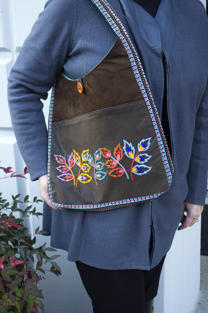Textured Embroidered Tote on Model