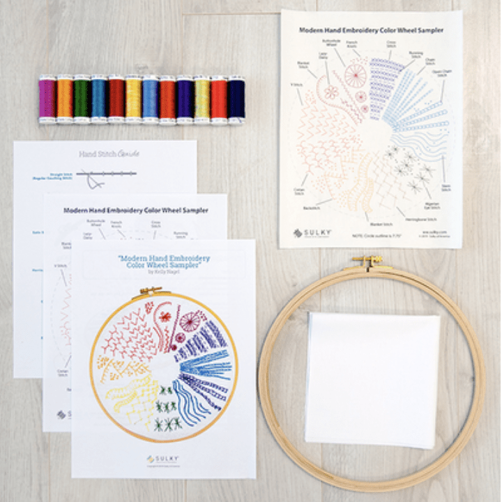hand embroidery color wheel