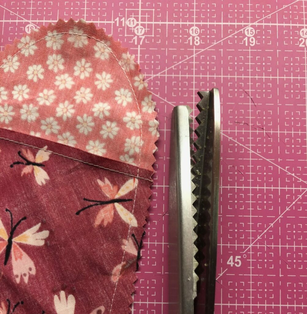 pinked edges of valentine heart pillow