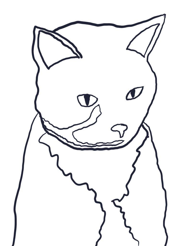 Fluffy Kitty pattern outline