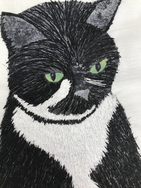 fluffy kitty white stitching