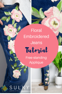 diy floral embroidery on jeans