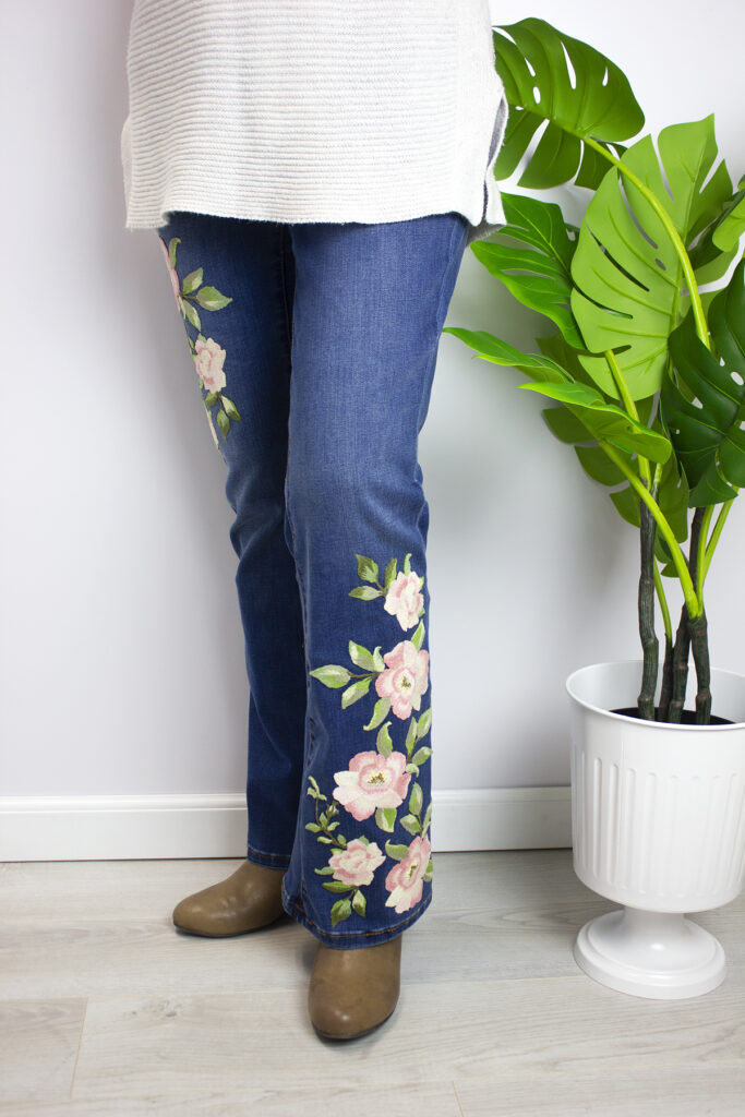 filaine embroidery on jeans