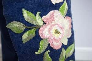 free-standing appliqué floral embroidered jeans sulky free project