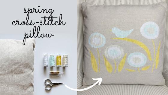 spring cross-stitch pillow