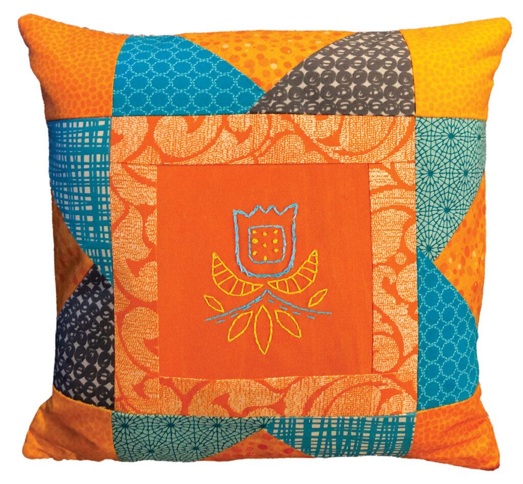 tulip quilt block pillow