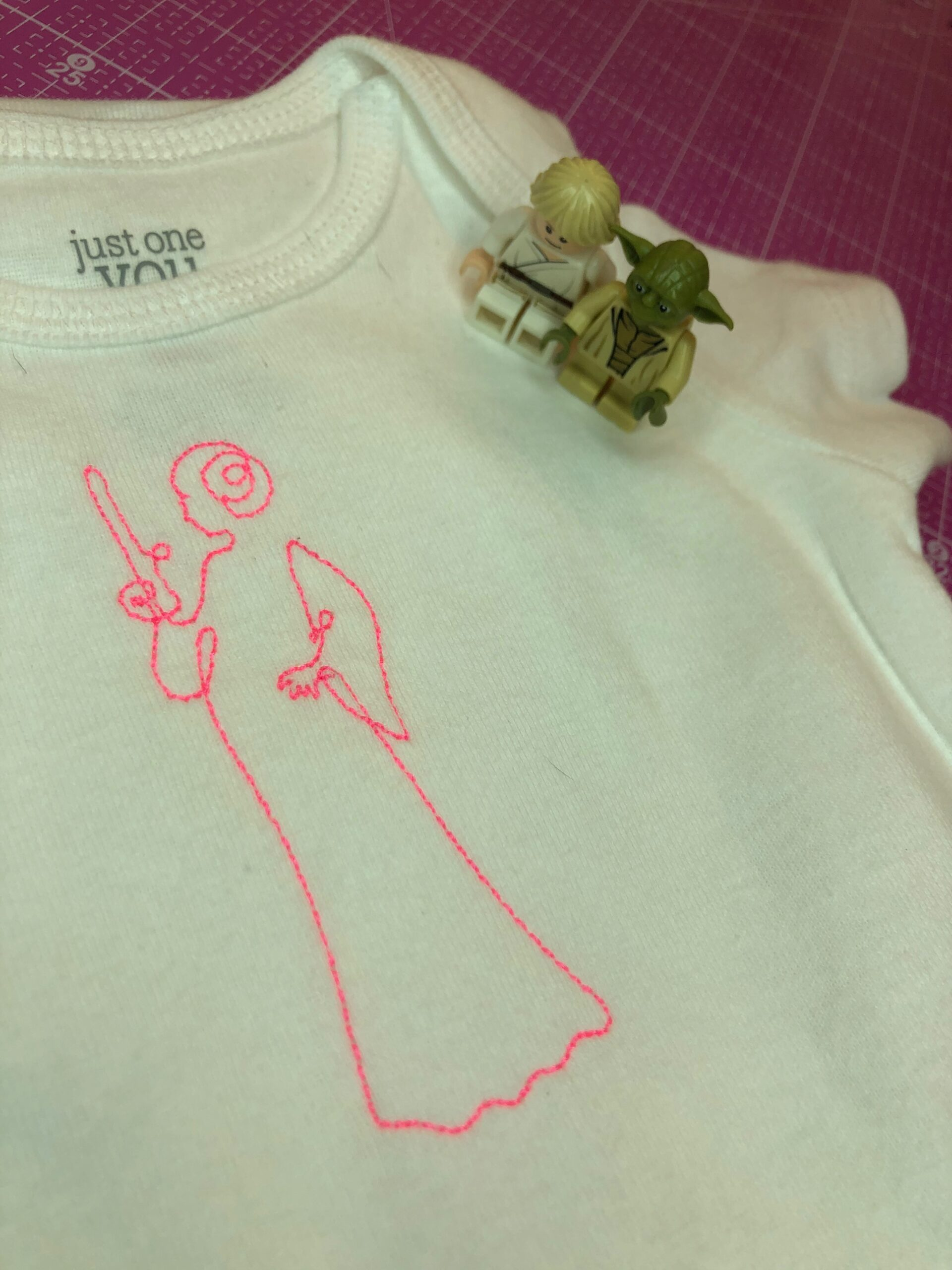 star wars sewing and embroidery on onesie