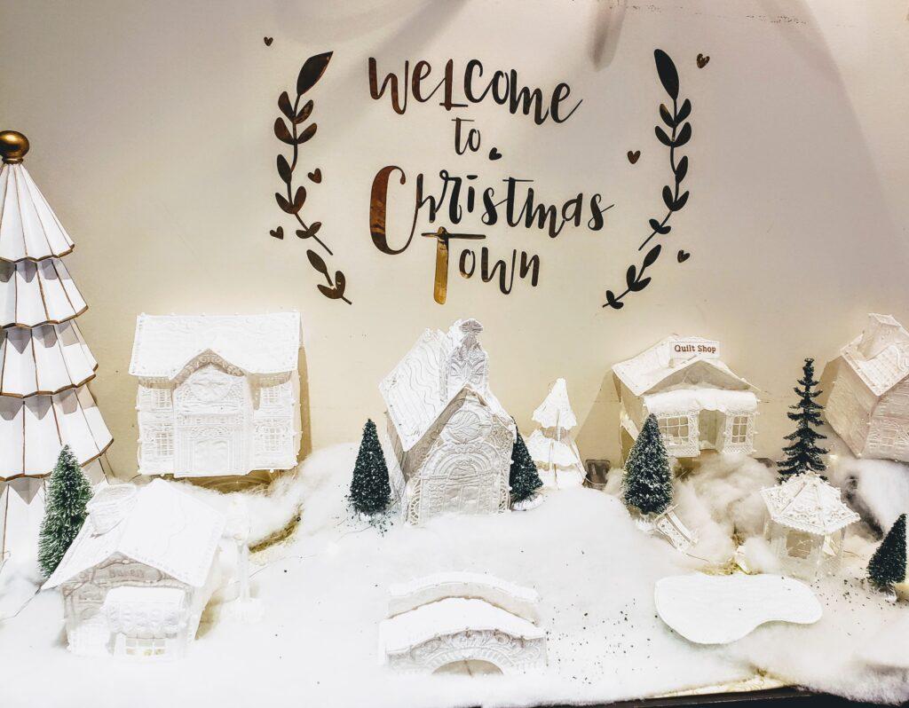 freestanding lace Christmas village