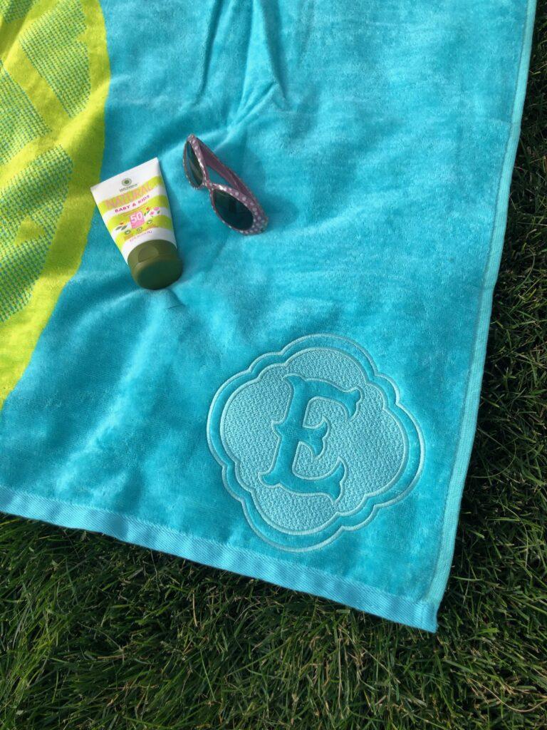 monogram machine embroidery on beach towel