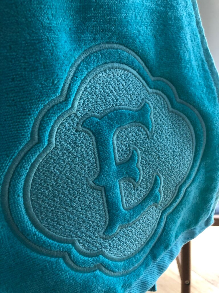 embossed monogram machine embroidery