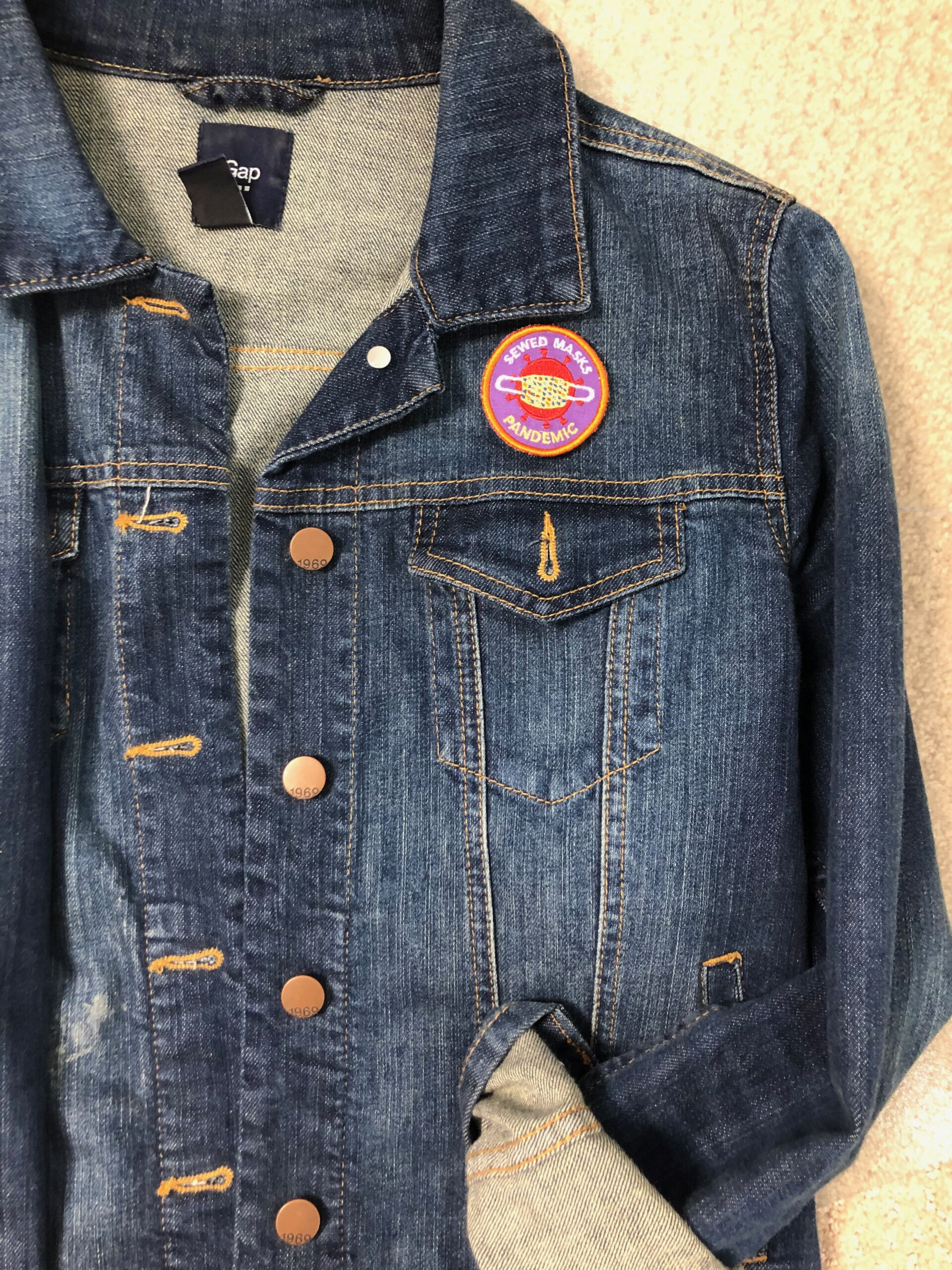 full denim jacket with pandemic patch