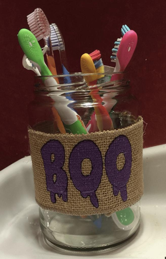 Halloween home decor ribbon jars