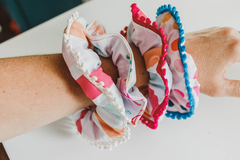 finished sewn scrunchies