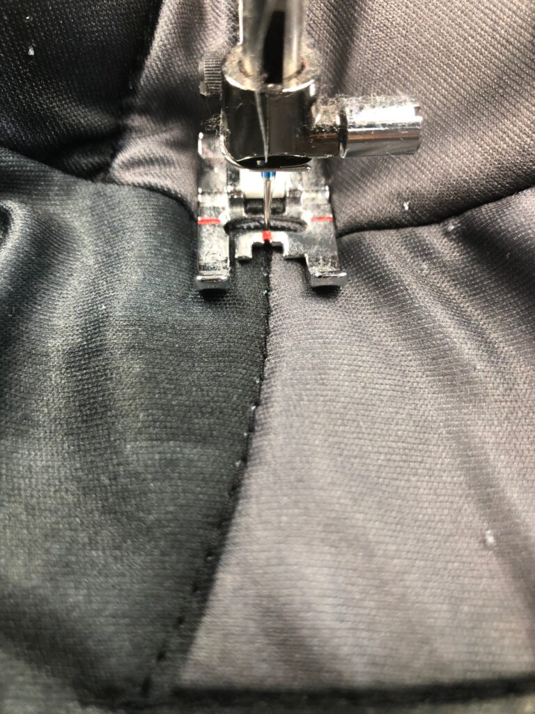 follow topstitching with reflective thread