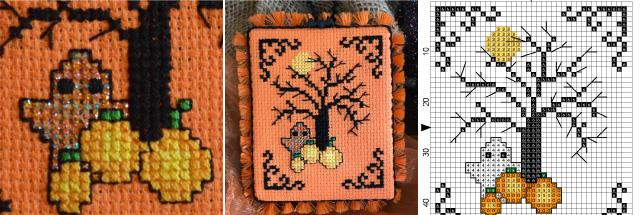 cross-stitch pumpkin project