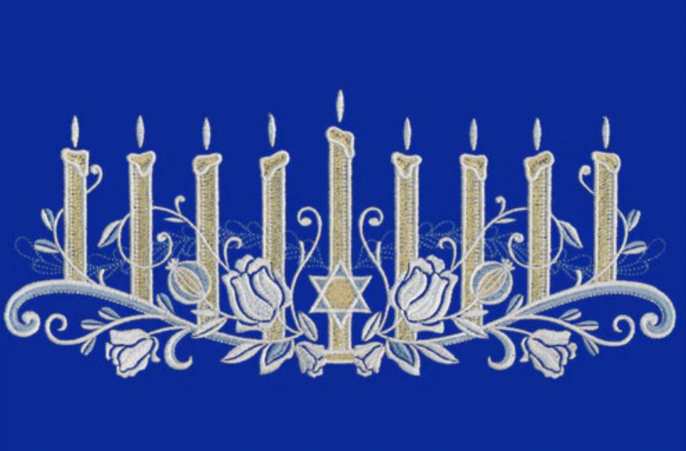 Hanukkah machine embroidery design