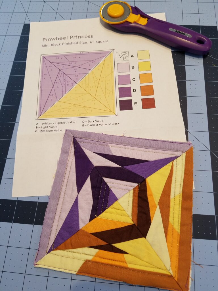 piecing the quilting with sparkle block