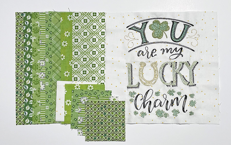fabrics for St. Patrick's Day quilt