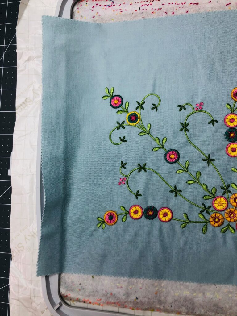 Mother's Day Table Runner embroidery