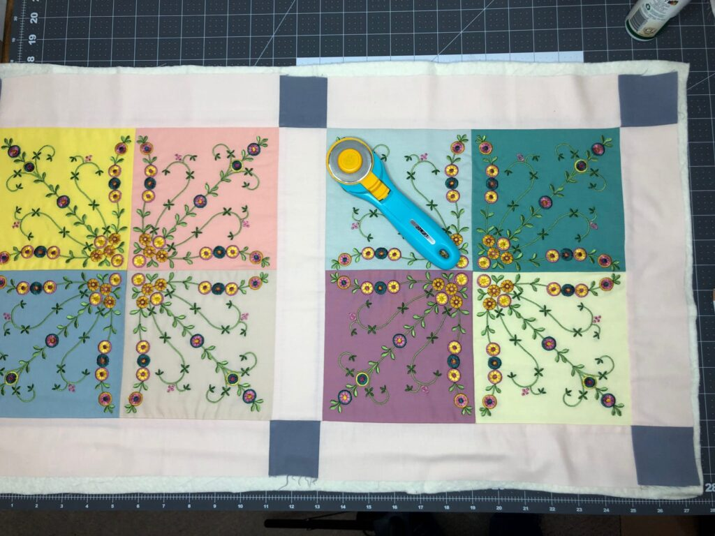 basting table runner completed