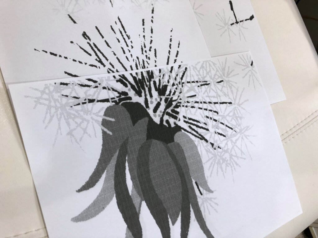 printing Dandelion design