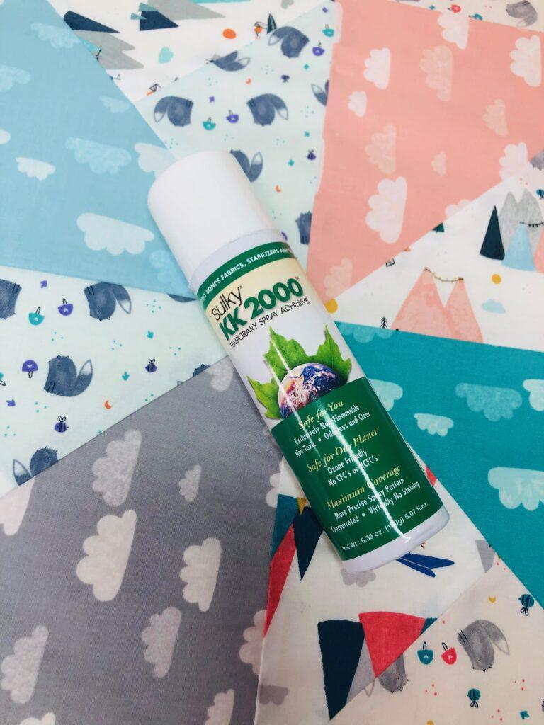 baste baby quilt using spray
