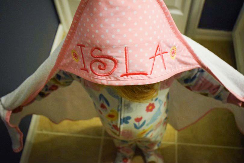 hooded towel on Isla