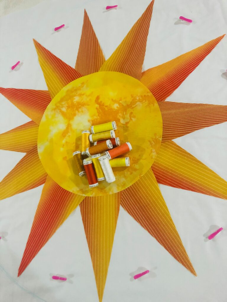 sunshine and daydreams thread palette on table topper