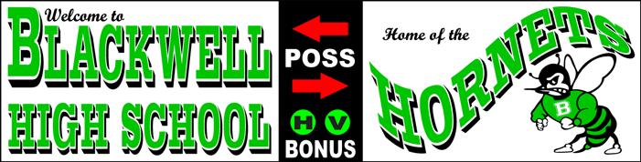 Varsity Scoring Tables | Freestanding & Bleacher Mount Standard or LED Scorer's Tables BLACKWELL Hornets F8