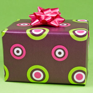 color gift box on the green background