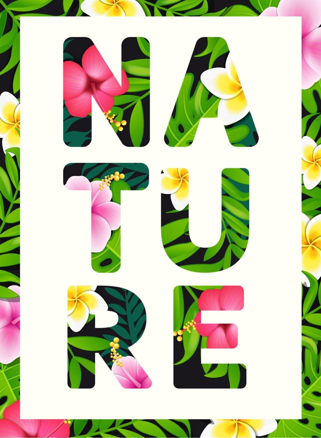 Tropical print slogan. For brochures and banners, vector illustration.
