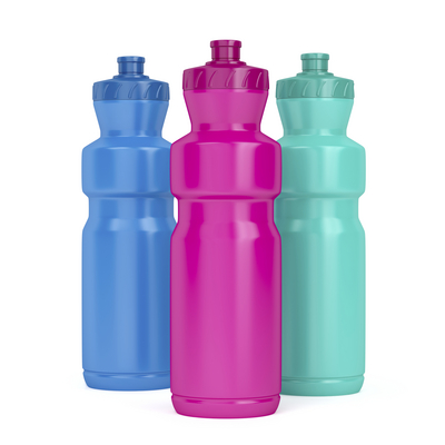 Three sport plastic bottles with different colors