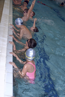 Children at a lesson in the pool swimming
