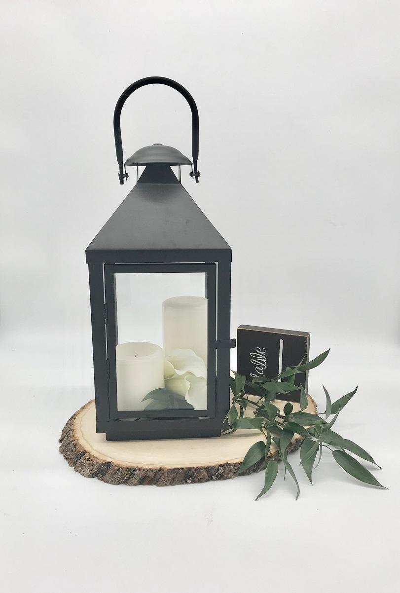 Black Candle Lantern Rustic Centerpiece