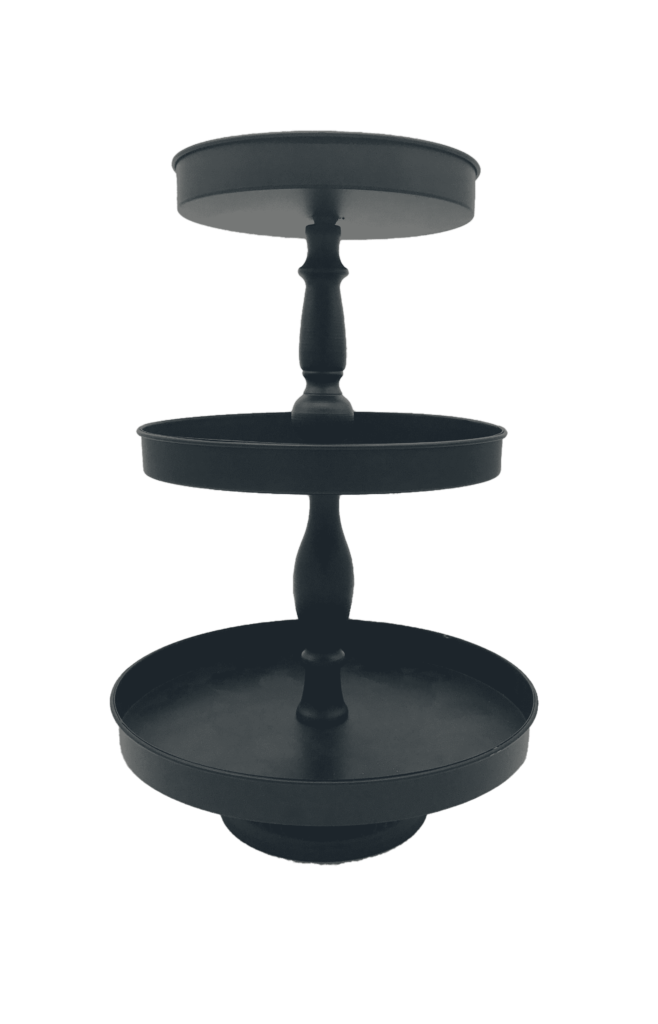 Black Pedestal Cupcake Tower Wedding Event Rental