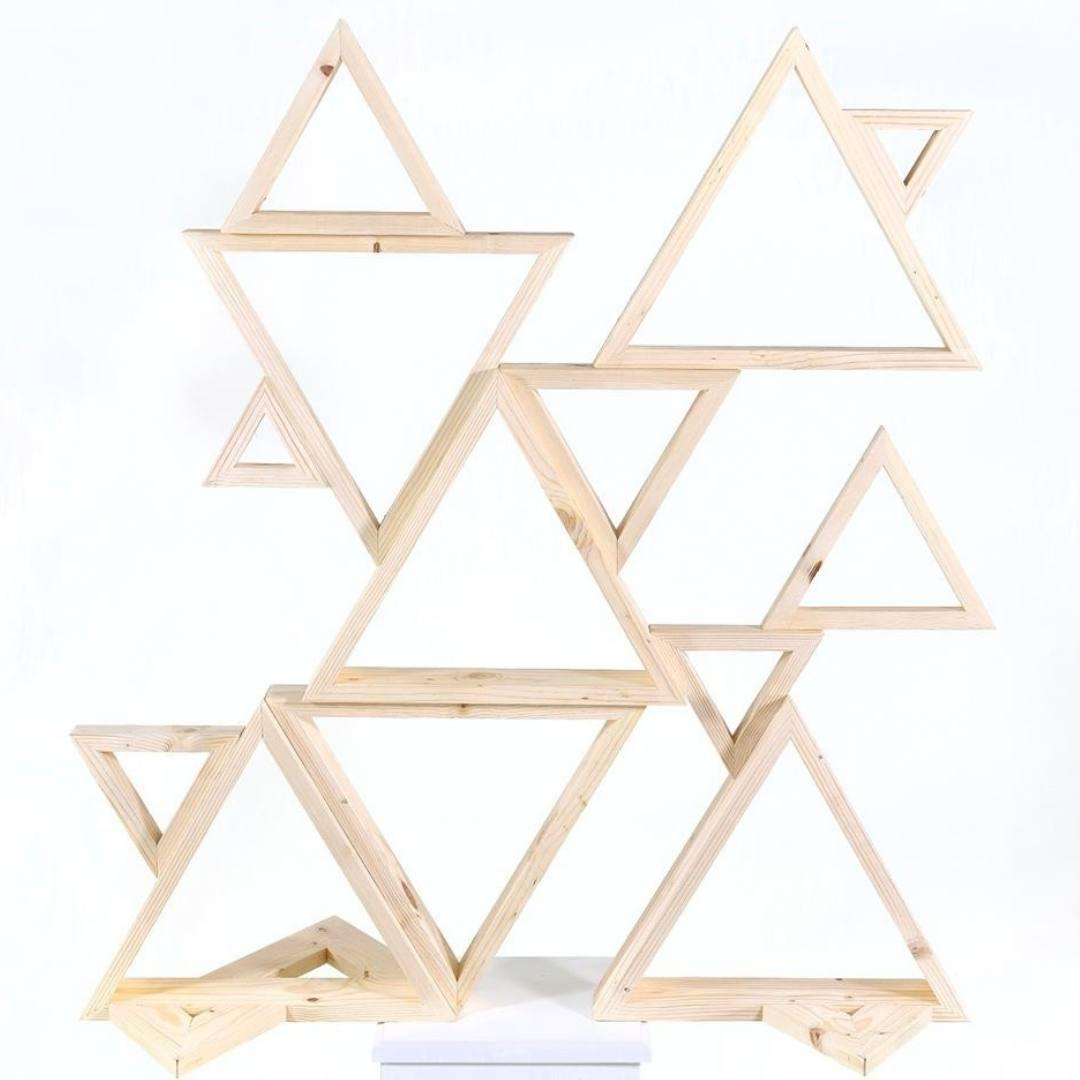 event decor rental wedding ceremony raw wood triangle altar