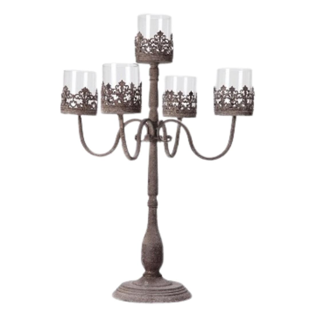 event decor rental grey gray silver chandelier wedding centerpiece candle