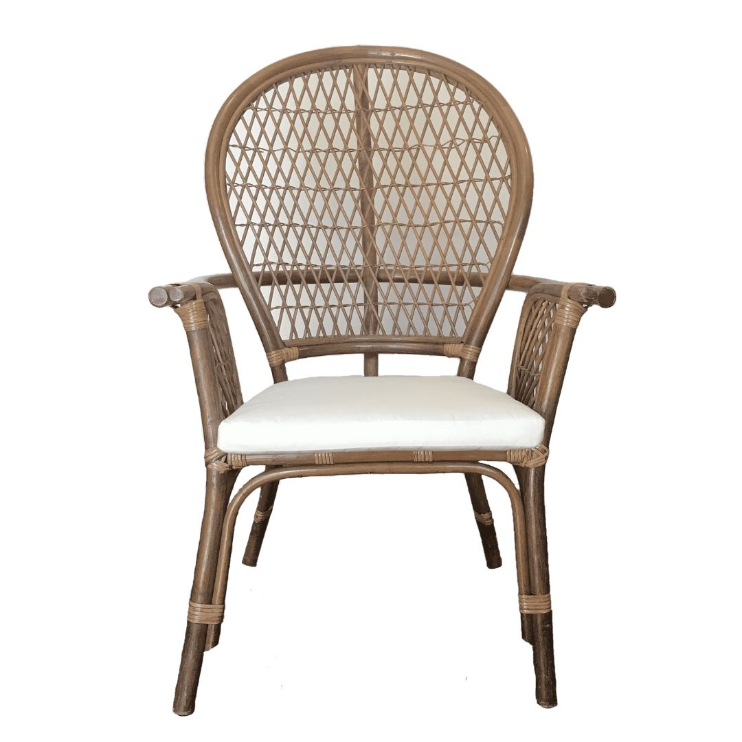 event decor rental woven arm side occasional chair wood wicker wedding lounge