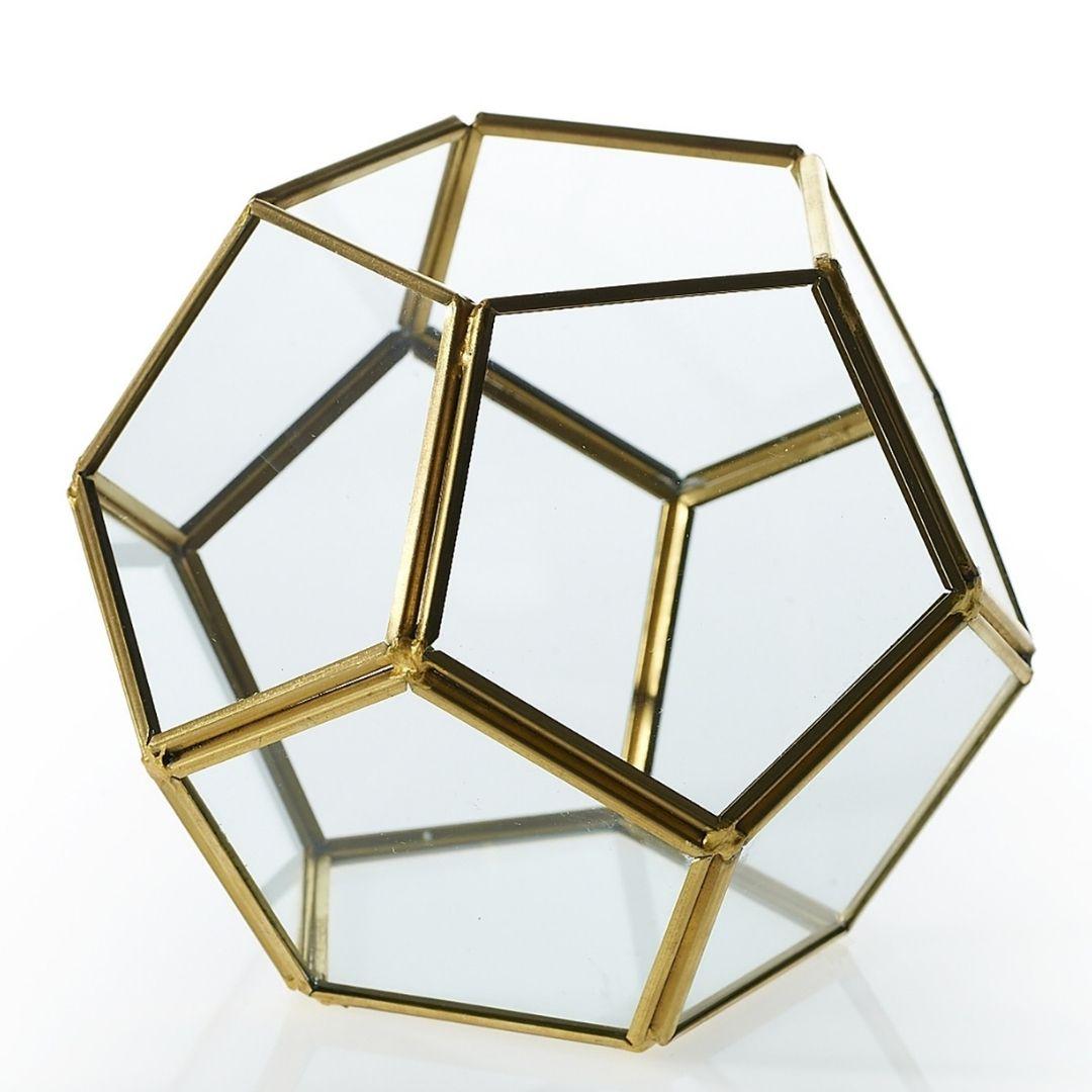 event decor rental gold brass bronze glass cube geometric vase candle holder wedding centerpiece