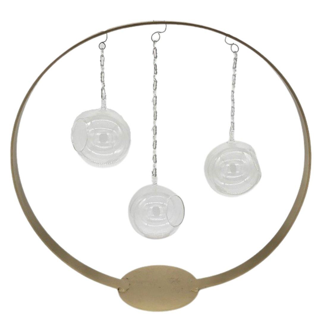 event decor rental brass bronze circle crystal sphere candle holder wedding centerpiece
